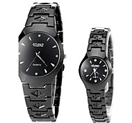 simples alliage noir montre-bracelet à quartz bande du couple