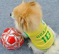 Number 10 Brazil Sports Clothes for Pet Dogs (Assorted Sizes)