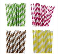 25 pcs listrado canudos de papel venda quente