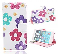 Colored Flowers Pattern PU Leather Protective Leather Case with Card Slot for iPhone 6
