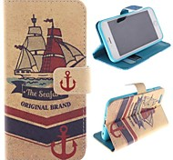 Ship Design PU Full Body Case with Stand with Card Slot for iPhone 6 Plus