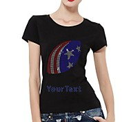 strass personalizzati noi t-shirt maniche calcio modello del cotone delle donne brevi