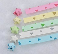 5 Color Heart Pattern Lucky Star Origami Materials(85 Pages/Package)