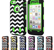 3-in-1 Design Raised Grain Pattern Hard Case with Silicone Inside Cover for iPhone5C (Assorted Colors)