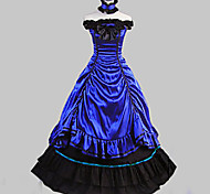 Sleeveless Floor-length Blue Satin Cotton Aristocrat Lolita Dress