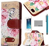 iphone 7 plus coco fun® retro bloemen pu lederen full body case met film, staan en stylus voor de iPhone 5 / 5s