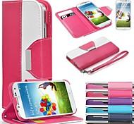 portefeuille en cuir étui en cuir flip couvercle du support avec support de carte pour Samsung i9500 de la (couleurs assorties)