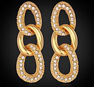 u7® 18k plaqué or véritable boucles d'oreilles figaro