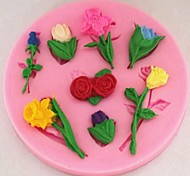 Valentine's Day Roses Lilies Tulips Flower Fondant Cake Chocolate Silicone Mold Cake Decoration ,L8cm*W8cm*H1cm