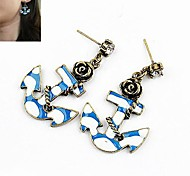 European Style Fashion Personality Temperament Style Pirate Ship Anchor Rose Earrings