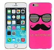 le rose bigode& vidros tampa da caixa de plástico rígido para o iPhone 6 mais