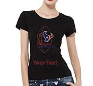 maniche strass personalizzato t-shirt calcio Houston Texans modello del cotone delle donne brevi