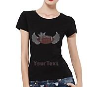 strass personalizzato t-shirt da baseball in cotone con maniche corte corona e ala modello delle donne