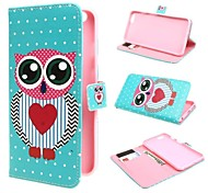 Big Eye Owl Wallet PU Leather Stand Case Cover with Stand and Card Slot for iPhone 6 Plus