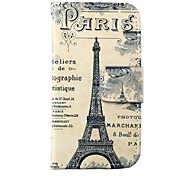 Retro Tower Pattern PU Leather Full Body Case for iPhone 4/4S