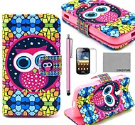 COCO FUN® Novelty Owl Pattern PU Leather Case with Screen Protector, Stylus and Stand for Samsung Galaxy Ace 2 i8160