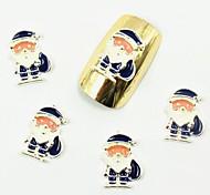 50PCS 3D Blue Santa Claus White Beard Christmas Nail Desgins  for False Acrylic Nail Tips Nail Art Decorations