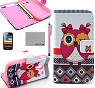 COCO FUN® Pink Cute Owl Pattern PU Leather Case with Screen Protector, Stylus and Stand for Samsung Galaxy Ace 2 i8160