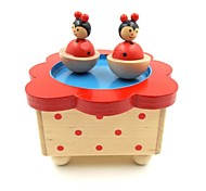 Wooden Magnetic Wind Up Music Box with Dancing Mice