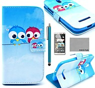 COCO FUN® Cute lovely Owl Pattern PU Leather Case with Screen Protector, Stylus and Stand for HTC Desire 500