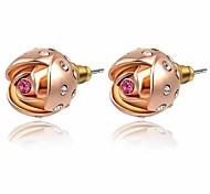 belle rose 18K / plaqué or blanc utilisation de bijoux brillant violet / bleu fleur rose boucles d'oreille