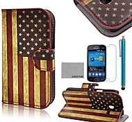 retrò usa modello di bandiera pu custodia in pelle cocco fun® con la pellicola e lo stilo per Samsung Galaxy Lite tendenza 7390/7392