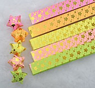 Golden Hot Stamping Plum Blossom Pattern Lucky Star Origami Materials(40 Pages/1 Color/Package Random Color)
