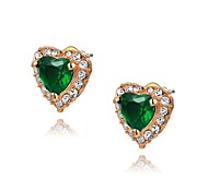 Unique 18K Rose Gold Plated Jewelry Use Shining Green Austria Crystal Heart Stud Earrings