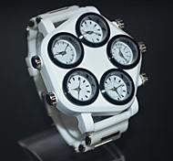 ameixa de marcação dos homens de moda retro cinco países tempo relógio pulseira de relógio de quartzo japonês silicone pulso (cores sortidas)