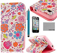 COCO FUN® Pink Cute Flower PU Leather Full Body Case with Screen Protector, Stand and Stylus for iPhone 4/4S
