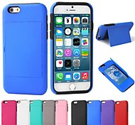 Card Slot Design PC and Silicone Full Body Case with Stand for iPhone 6 (Assorted Colors)