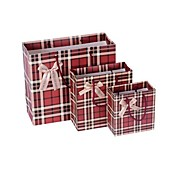 Lureme European Style Dark Red Plaid Bowknot  Pattern Gift Bag(1 Pc)