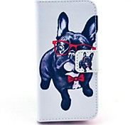 Glasses Dog Pattern PU Leather Case with Stand and Card Slot for iPhone 5C