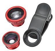clip-on universale 180 ° lente fish-eye + 0.67x lente grandangolare + micro lente + kit obiettivo macro