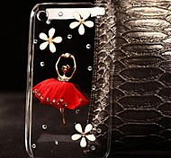 DIY Red Skirt with Rhinestones Pattern Plastic Hard Case for iPhone 3G/3GS