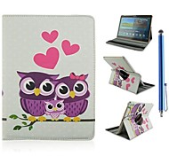 Cartoon-Eule Familie Muster PU-Leder Ganzkörper-Fall und Stylus für Samsung Galaxy Tab 10.5 s t800
