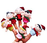 6pcs Weihnachts kleine Familie Plüsch Fingerpuppen Kinder sprechen prop