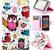 Wallet Style Cartoon Owl PU Leather Full Body Cover with Stand for Nokia Lumia 520
