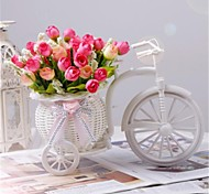 "8""H Modern Multicolor Bud Roses in White Basket Bike"