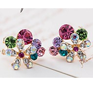 Love Is your Fashion Crystal Flower Brief Paragraph Stud Earrings