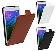 Flip-Open Solid Color Pattern Genuine Leather Full Body Case for Samsung Galaxy Alpha G850
