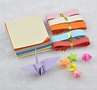 PVC Box Solid Color Lucky Star and Papercranes Origami Materials(150 Pages)