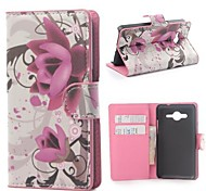 Purple Flower PU Leather Cover with Stand and Card Slot for Samsung Galaxy Core 2 G355H