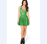 Costumes Uniforms Halloween / Christmas / Carnival / New Year Green Solid / Print Terylene Dress