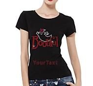 personifizierte Strass T-Shirts HalloweenBOO Baumwolle mit kurzen Ärmeln bootiful Musterfrauen