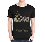 Personalized Rhinestone T-shirts Happy Halloween Ghost Pattern Men's Cotton Short Sleeves
