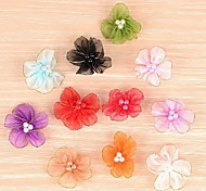 3.5cm DIY Handmade Chiffon Satin Fabric Cloth Flowers Ornaments (8Pcs Random Delivery)