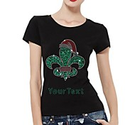 Personalized Rhinestone T-shirts Chirstmas Hat Pattern Women's Cotton Short Sleeves