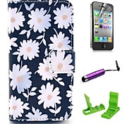 Daisies Pattern PU Leather hoesje with Screen Protector and Stylus for iPhone 4/4S