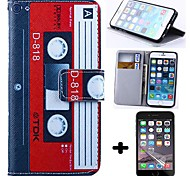 Wallet Style Magnetic Tape PU Leather Full Body Cover with Screen Protector for iPhone 6
